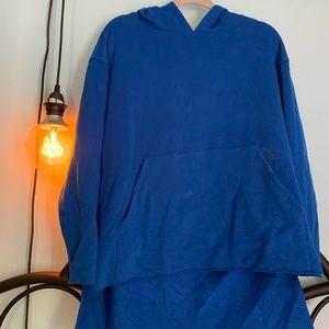 plushy blue oversized hoodie